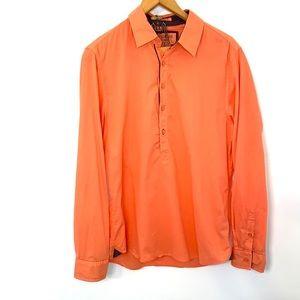 Guess half button down orange top